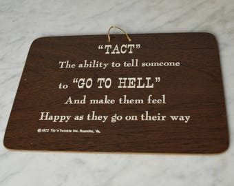 Vintage Sign, Funny Sign, Office Sign, Go to Hell, Wall Hanging, Humors Sign, Free Shipping