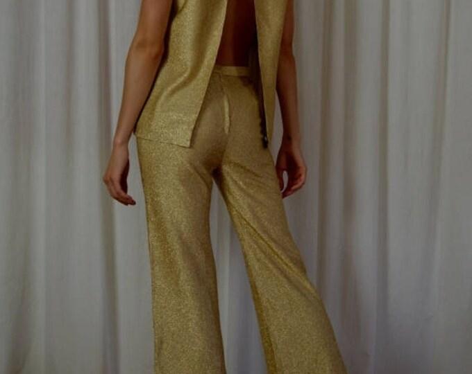 sale Disco Pantsuit,Gold Lame Pantsuit, Cocktail Pantsuit, 60s Pantsuit, Bell Bottom Pants, Open Back, GoGo, Sexy Top and Pants, Waist 24 In