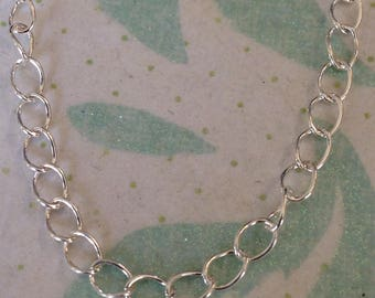 Sterling silver curb chain, 925 sterling silver, curb style, 24 gauge, Unfinished, 3.8x2.8 mm, Necklace Chain by the Foot, - mmss m88 hp