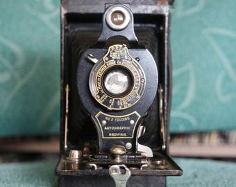 SALE 25% OFF Early 1900's Kodak No.2 Folding Autographic Brownie Camera