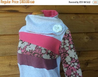 20% SALE Hoodie Sweatshirt Sweater Handmade Recycled Upcycled One of a Kind GARDEN PARTY Ladies Large - Pastel Cute Kawaii Pockets