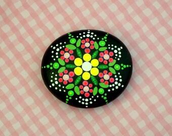 Mandala stones etsy-jewel drop painted rocks-pink flower-meditation therapy healing stone-Yoga accessories-ooak 3D neon dot art-pointillism