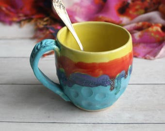 Large Colorful and Fun Coffee Mug in Dripping Glazes Carved Stoneware Pottery Coffee Cup 14 oz. Made in USA Ready to Ship