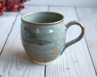 Handcrafted Coffee Cup in Earthy Sage Green and Ocher Glaze 14 oz. Handmade Pottery Mug Ready to Ship Made in the USA