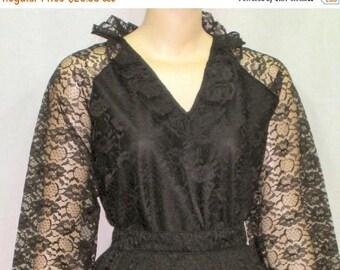SUMMER SALE Vintage 1970's Lace Overlay Skirt Blouse Shirt 13/14 Formal Outfit Helen Joy Le Damor