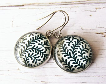 Black and White Fern Leaf Nature Style Glass Dome Drop Earrings | Simple Everyday Wear Jewelry | Gift for Her | Stainless Steel