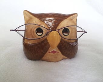 Vintage Owl Ceramic Eye Glasses Holder Stand