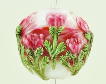 Handmade Lampwork Focal Bead Pink Peony SRA by HallockGlass