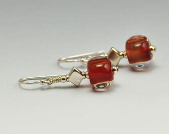 Earrings - Handmade Cinnamon Cube Lampwork and Sterling Bead Earrings SRA by HallockGlass