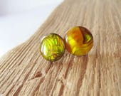 Yellow paua shell earrings.  Yellow earrings. Abalone earrings. Stud earrings.  12mm earrings.  Post earrings.  Paua shell jewelry.