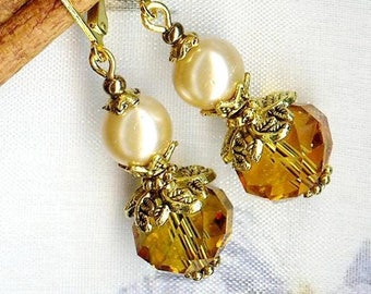 Small pearl beads and honey OR448 PICCOLA earrings
