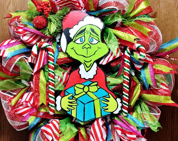 SALE- Grinch that Stole Christmas Presents Candy Cane - Welcome Door Wreath