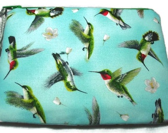 Padded Zipper Pouch Cosmetic Bag in Hummingbirds in Flight Print