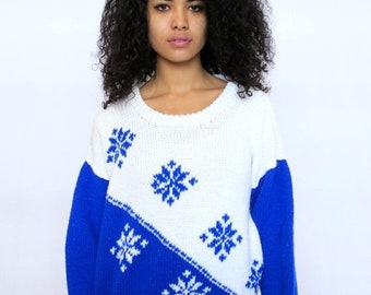 40% OFF The Vintage Blue and White Snowflake Sweater