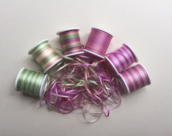 Amethyst mix - 18 metres of 2mm variegated colour silk ribbon