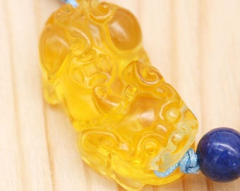 Protection and abundance men's bracelet - lapis and citrine Pi Xiu