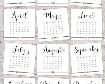 Calendar, 2018 desk calendar, black and white square, 5x5