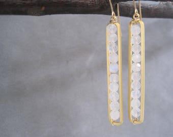 Flashy Rainbow Moonstone Earrings - White Earrings - Gold Bar Earrings - Semi Precious Stones- Birthstone Jewelry - June - Moonstone