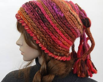 Rainbow Crochet Beanie, Super Chunky beanie, Women's Winter Hat, OOAK Beanie, Multi color Crochet Hat, Crochet Beanie with Pony Tail Tassels