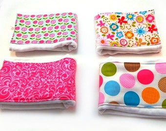 SALE Girl Burp Cloth - Pink Green Blue Orange Flowers Dots Diaper Burp Cloth- single You choose / Pink Burp Cloth / Cotton Burp Cloth