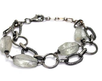 NEW! Bracelet Auqamarine and Sterling silver - womans, adjustable, rocker, boho, artisan,  raw, statement - free worldwide shipping!