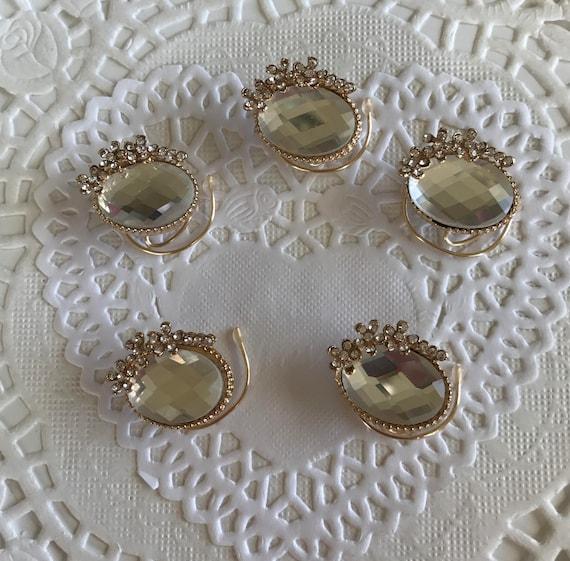 Ballroom Dancing-Wedding Hair Swirls -Clear Ovals and Flowers Hair Coils-Bridesmaids Spins- Set of 5 Spirals