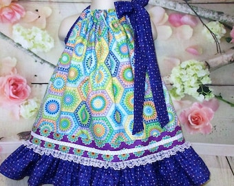 Girls 2T/3T Dress Purple, Yellow, Blue Design Pillowcase Dress, Pillow Case Dress, Sundress