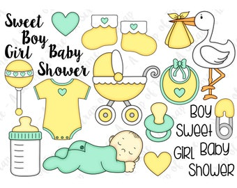 Baby Hand Drawn Digital Clipart - Set of 23 - Stork, Pacifier, Bottle, Onesie, Stroller - Instant Download - Item# 9175