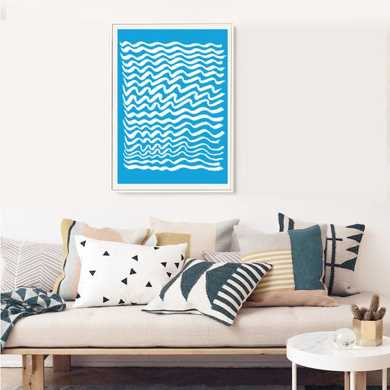 GRÈCE #004 // poster, Abstract art, 12x18, minimalist art print, geometric, mid century, Scandinavian style, blue, greece