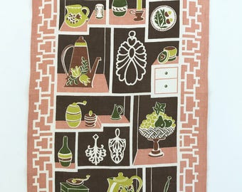 Vintage Linen Kitchen Towel, Shelves with Collectibles, Pink, Green, Brown Colors