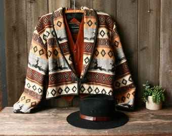 Southwest Style Jacket Black and Browns Diamonds and Deer 90s Grunge Flashback Brand Vintage From Nowvintage on Etsy