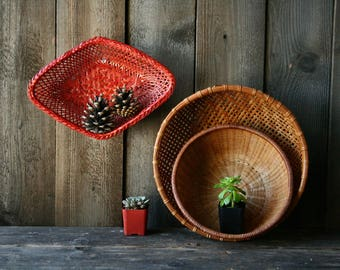 Choice of Three Baskets Vintage From Nowvintage on Etsy