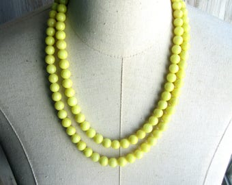 Lemon Yellow Double Strand Beaded Necklace, Choice of length, Clasp