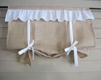 Natural Burlap with White Eyelet Ruffle 36 Inch Long Stagecoach Blind Custom Made to Order Tie Up Curtain Swag Balloon