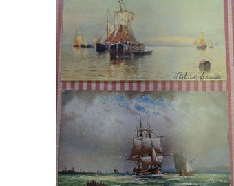 Two Vintage Postcards - Ship Paintings - Wonderful For Framing