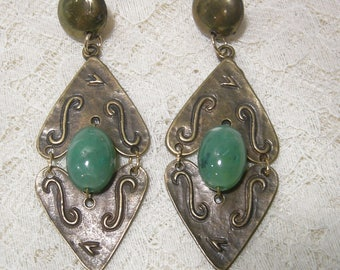 Vintage 1970's Aventurine Dangle Earrings, Pierced Earrings, Post Earrings