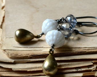 Bridal jewelry, vintage bead earrings with brass drops - The baroness