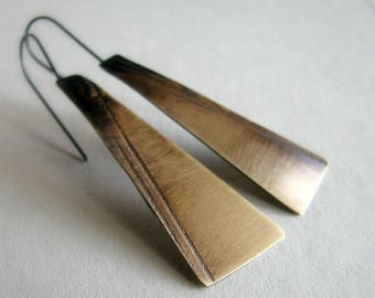 ON SALE Brass earrings, patterned and hand cut metal, modern rustic earrings - Shadowland