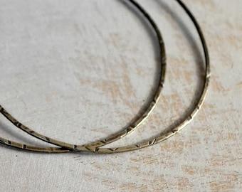 Large sterling silver hoop earrings, XL hoops, textured sterling silver hoops with ombre patina