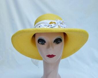 Panama Straw Sun Hat /  Yellow Panama Straw 3 1/2 Inch Rollled Brim Hat / Panama Straw Hat From Ecuador