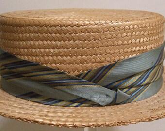"22 1/2"" = Vintage 1950's Mid Century Men's Straw Boater Hat"