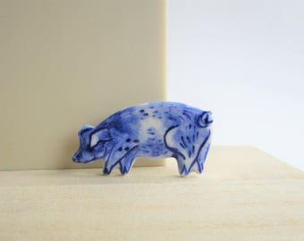 Pig - Handpainted Delft Brooch