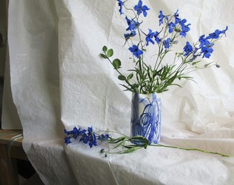 Hand built  and hand painted blue and white  slip cast porcelain vase