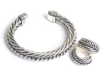 Bold Twist Design Cuff Bracelet Clip Earrings Beading Smaller Petite Wrist Size Vintage