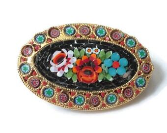 Floral Mosaic Tile Brooch Italy Oval Shape Vintage