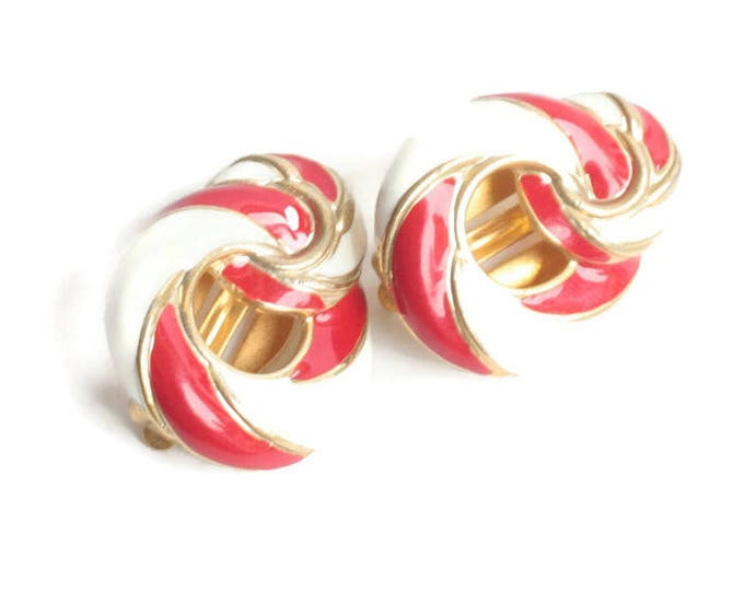 Red and White Enameled Earrings Clip Swirled Design Clip On Vintage