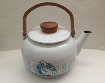 Reserved for Talina - White Enamel Metal Tea Kettle With Wood Handle -  Goosee With Blue Ribbon