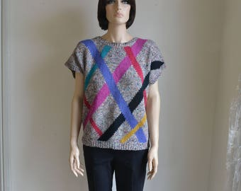 80s Graphic Sweater Oversized Slouchy Cap Sleeve Color Block Flecked Knit Top