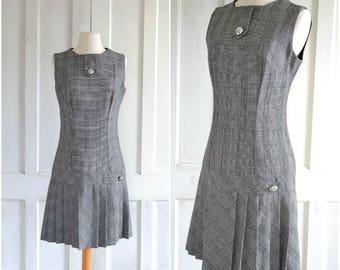 60s MOD Mini Dress Black and White Plaid Dropped Waist Pleated Skirt Wool Dress
