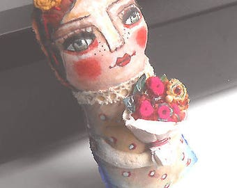 Original art doll  Tina girl with red flowers hand made ,hand painted,OOAK from miliaart studio